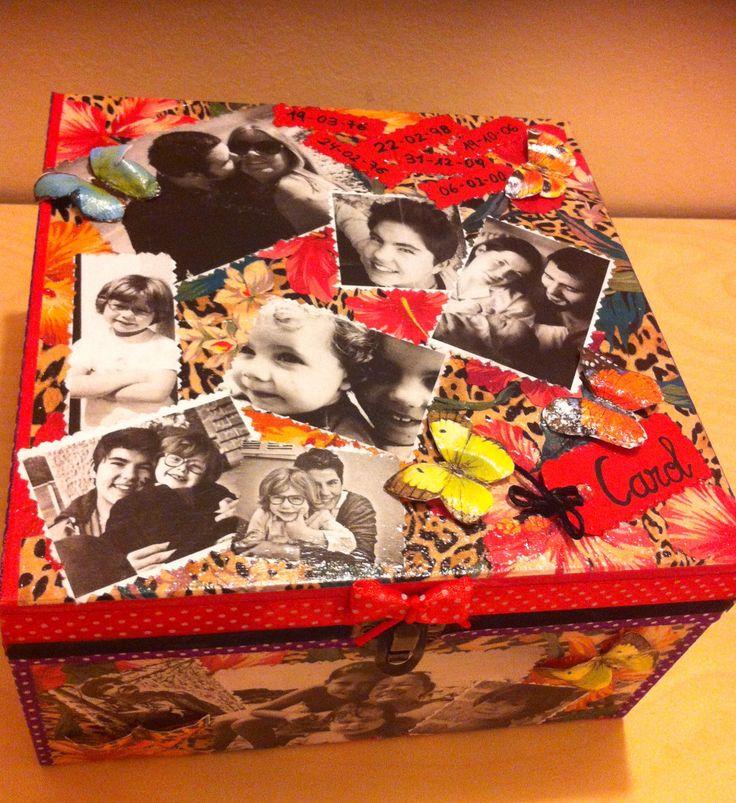 Caja decorada con fotografías. Un regalo para alguien especial.