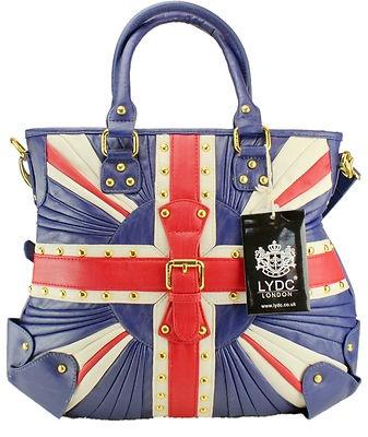 New lydc vintage style union jack ruffle golden studs shoulder handbag