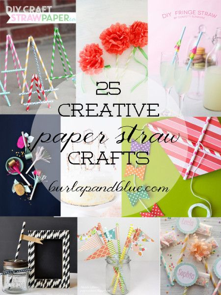 25 Creative Paper Straw Crafts via Burlap and Blue