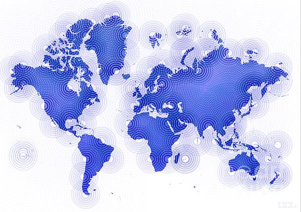 World Map Zona In Blue And White by elevencorners. World map wall print decor. #elevencorners #mapzona