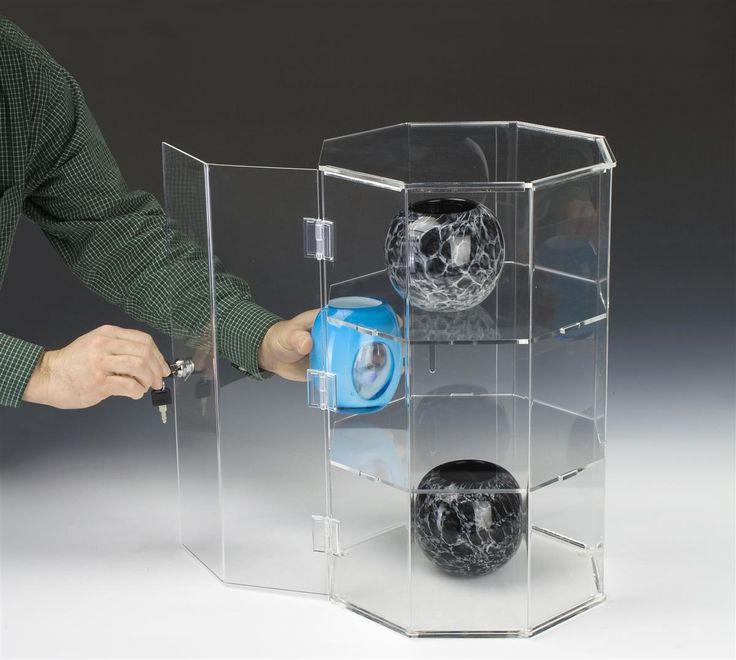 Acrylic Countertop Display Case w/ Octagonal Design, Locking Door & 2…