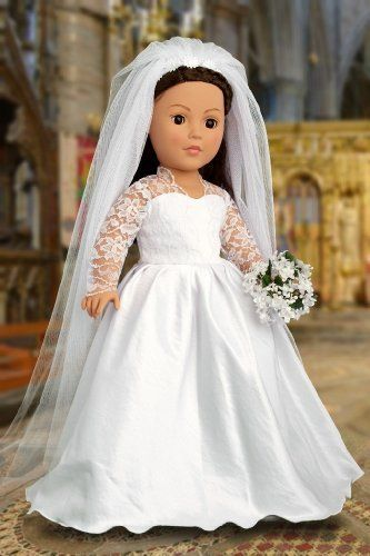 Princess Kate Royal Wedding Dress with White Leather Shoes and Tulle Veil - Clothes for American Girl Dolls