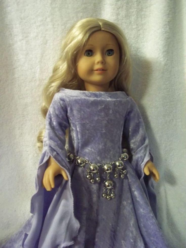 "Beautiful Medieval dress made for 18"" American girl doll  caroline lavender"