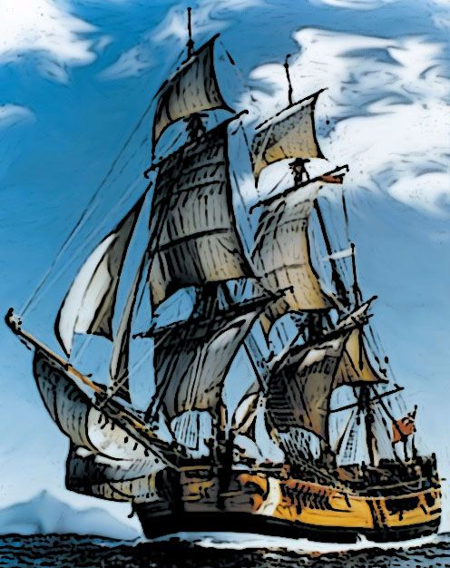 The Endeavour, Captain Cook's ship.