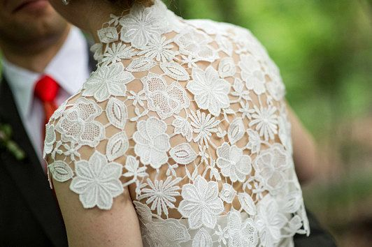 Krista Italian guipure embroidered lace bolero shrug cap sleeves ivory off white S M L CUSTOM