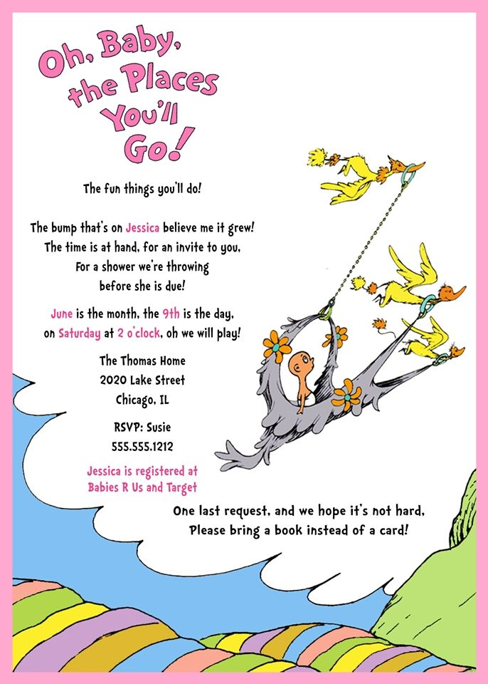 Dr. Seuss Inspired Baby Shower Invitation, Oh, Baby The Places You'll Go, Pink