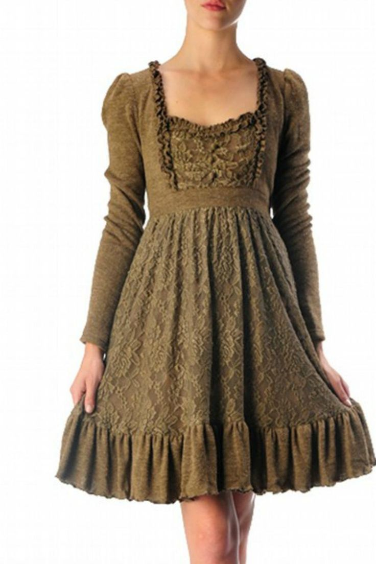 Long sleeve, knit, brown tunic dress with ruffle trim and lace layered design throughout. String tie in the back of the waist.           Brown Lace Dress by Ryu. Clothing - Dresses - Long Sleeve Austin, Texas