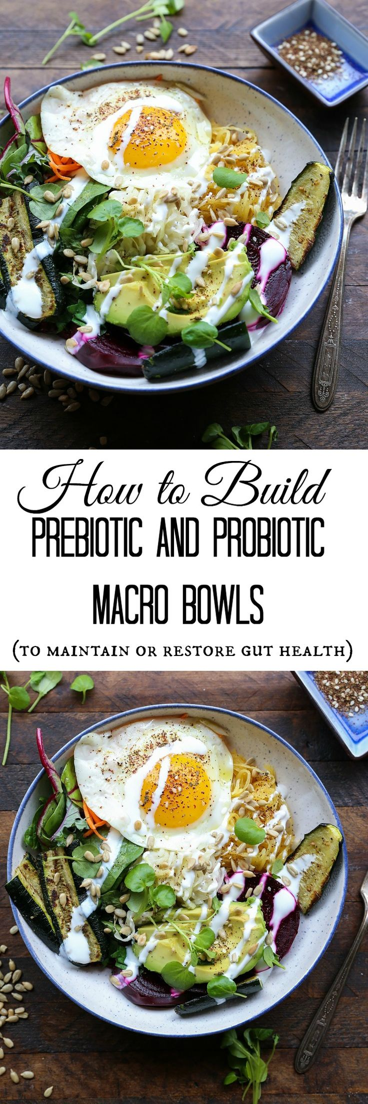 How to Build a Nutrient-Dense Prebiotic and Probiotic Macro Bowl (with tons of options for customization!) | TheRoastedRoot.net #vegetarian #healthy #recipe