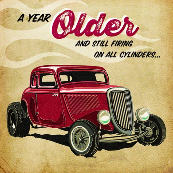 Cheeky Red Hotrod Birthday Card