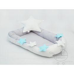 Kokon niemowlęcy, Pikowany, Szary, Pastelowy, pastel, babynest, grey, --> www.betulli.pl