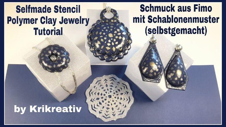 Selfmade Stencil - Polymer Clay Jewelry- Tutorial, Schmuck aus Fimo mit ...