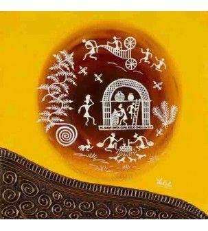 Daily Chores Yellow Warli Painting