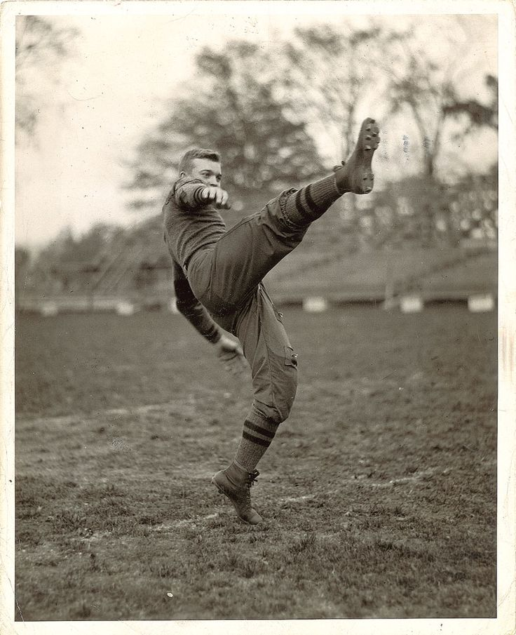 "historicaltimes: ""Dwight D Eisenhower punting during a practice at West Point for the Army football team, 1915 Keep reading """