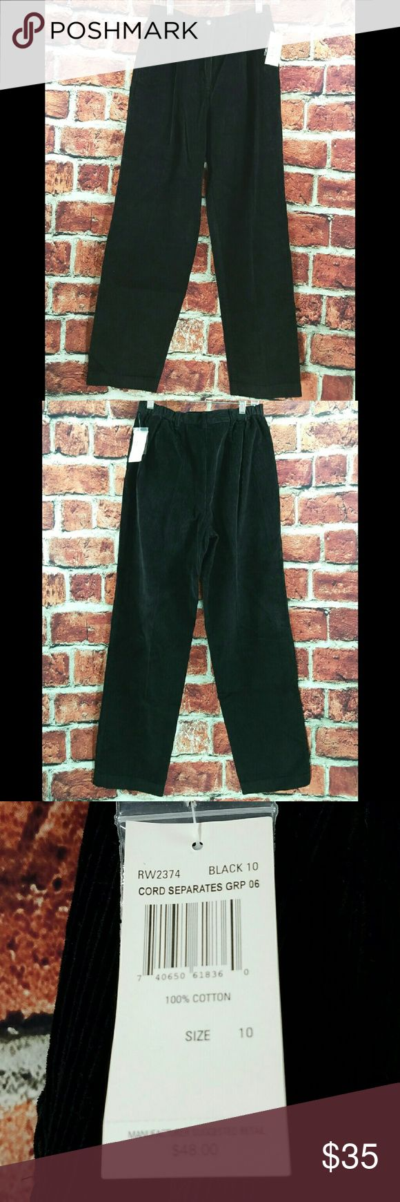 Rafaella Black Pleated Cotton Cords 28x30 Womens Rafaella Black Pleated 100% Cotton Corduroy Pants Size: 10 (28x30) NEW  About this item:  Brand New 100% Cotton Pleated Black  Size: 10 Waist: 28 Inseam: 30 Rise: 13 Rafaella Pants Straight Leg