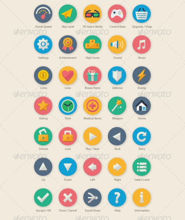 35 Cartoon Game UI Icons for your next game related project, such as mobile game, casual game, mini game, kids game and etc.