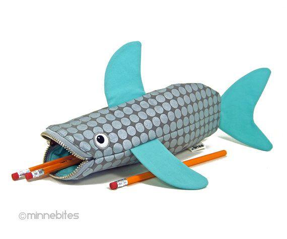 Shark Bag by MinneBites / Handmade Shark Pencil Case - Turquoise Silver Desk Accessory - Kids School Bag - Nautical Purse - Personalized Bag