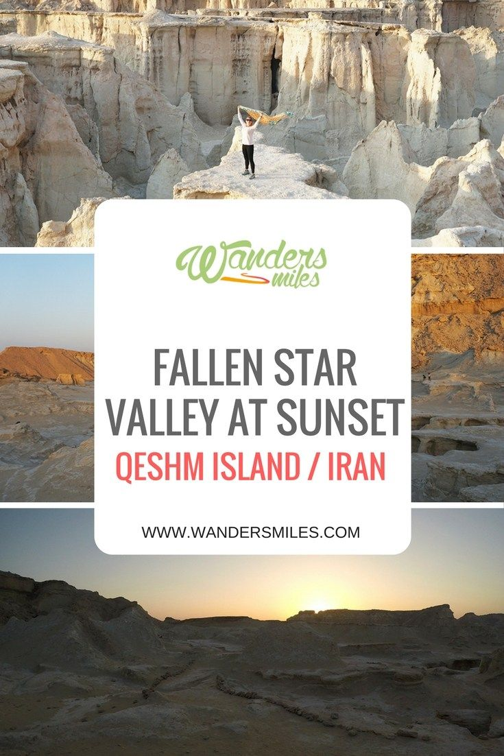 Fallen Star Valley at sunset, on Qeshm island off the southern coast of Iran, is located near Berkeh Khalaf Village. It really is nature at its best in the Middle East designing the rocky landscape with the elements.
