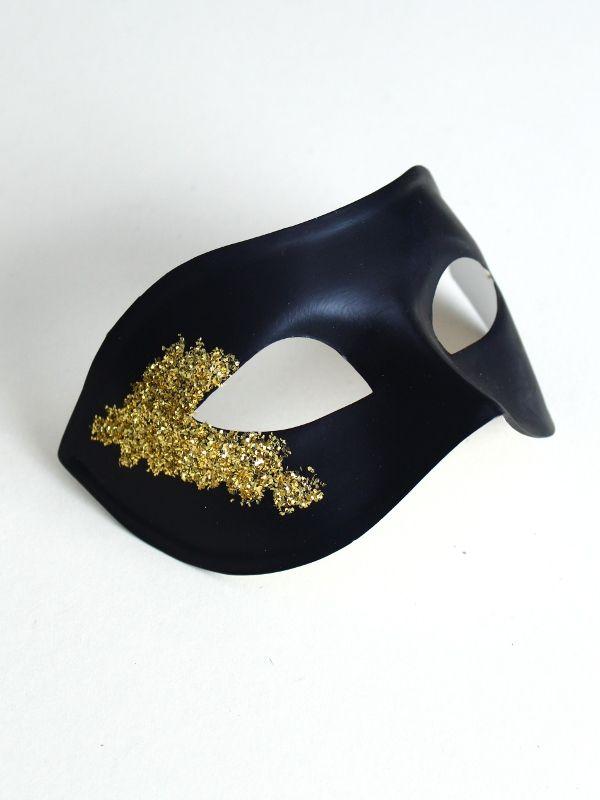 Men's Vanity Black & Gold Masquerade Mask