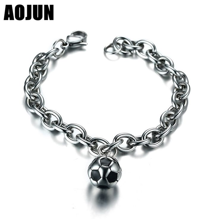 AOJUN 13MM Stainless Steel Bracelet Men Jewelry 2017 New Football Charm Chain & Link Bracelets Male Soccer Accessories BR-451 #Affiliate