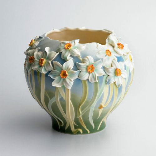 daffodil flower garden design sculptured porcelain vase designed by ute patel missfeldt - Vase Design Ideas