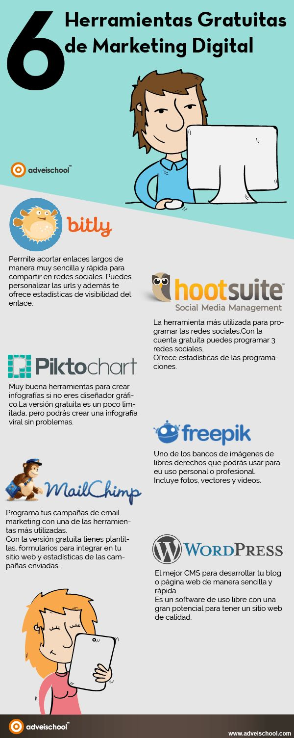 6 herramientas gratuitas de Marketing Digital #communitymanagerherramientas