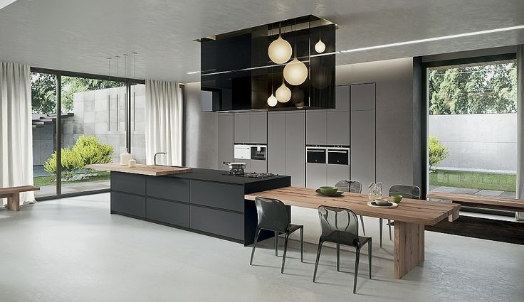 House G A Total Makeover Of Old Barn With A Large Kitchen Living Room For Relax And Entertainment Kitchen Island Table Combination Kitchen Island Dining Table Wood Floor Kitchen