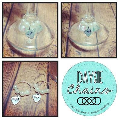 Handmade by Daysie Chains A Pair of Wedding Wine Glass Charms