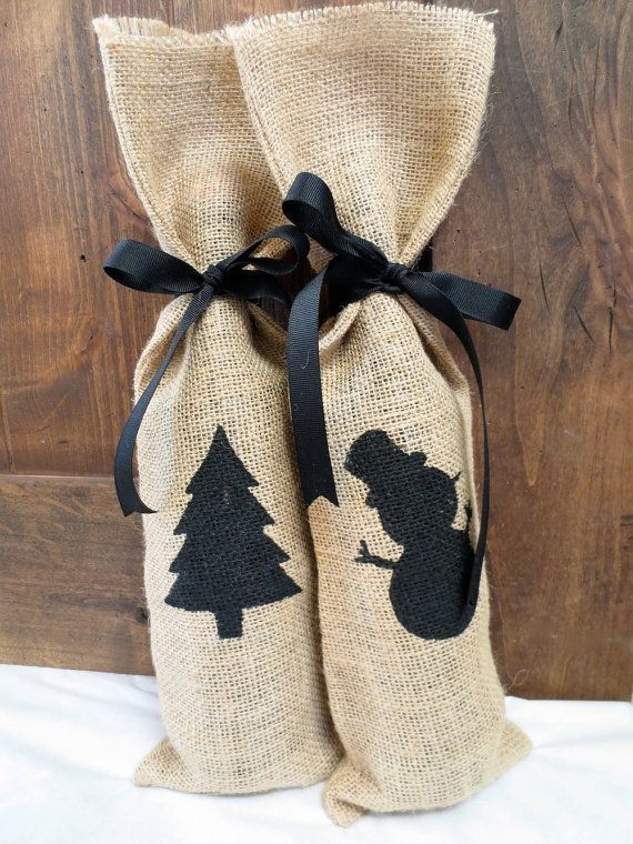 2014 Christmas burlap wine gift bag with snowman and tree patterns - Christmas tree decoration , Christmas wine bag , Christmas black stain cord