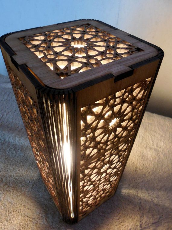 Intricately laser cut Zelij Design Lamp. This Moroccan design is is a lMoroccan motif, shoji style table lamp.