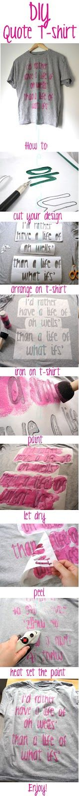 i always do this! i have a lot of t-shirts i made myself! Quotes and Pics!    But my tip is: if you use a thicker kind of paper, like couche paper, the paint won´t spread and you can make another coat of paint and it won´t rip!
