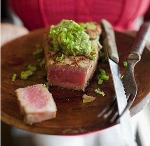 Tuna Steaks Marinated in Soy, Sesame, and Lime Juice -- great recipe for frozen tuna steaks from Costco