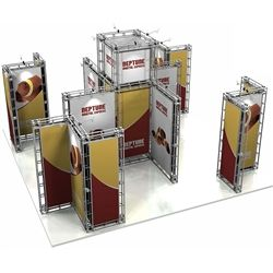 20ft x 20ft Island Neptune Orbital Express Truss Display with Rollable Graphic is the next generation in dynamic trade show exhibits. Neptune Orbital Express Truss Kit is a premium trade show display is designed to be used in a 20ft x 20ft exhibit space#Tradeshow#Truss#Exhibit#Ideas#Custom #Displays #Backwall