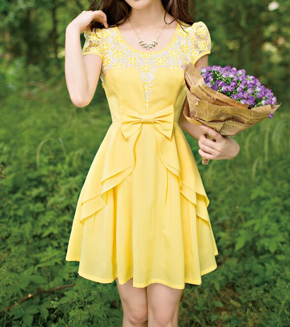 Summer fashion bow short-sleeved dress CC05285DR- I want this dress! it reminds me of Belle from Beauty of the beast!!