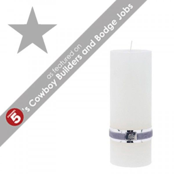 RUSTIC Large White Pillar Candle *CURRENTLY OUT OF STOCK* *AS FEATURED ON CHANNEL 5's COWBOY BUILDERS & BODGE JOBS*