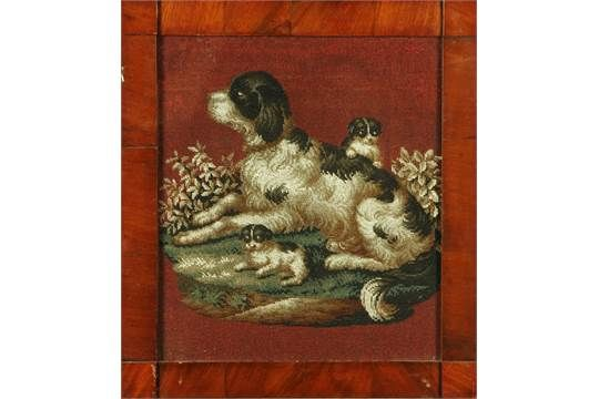 A Victorian beadwork picture, dog and pups.  44 cm x 38 cm, in mahogany frame.  CONDITION REPORT: