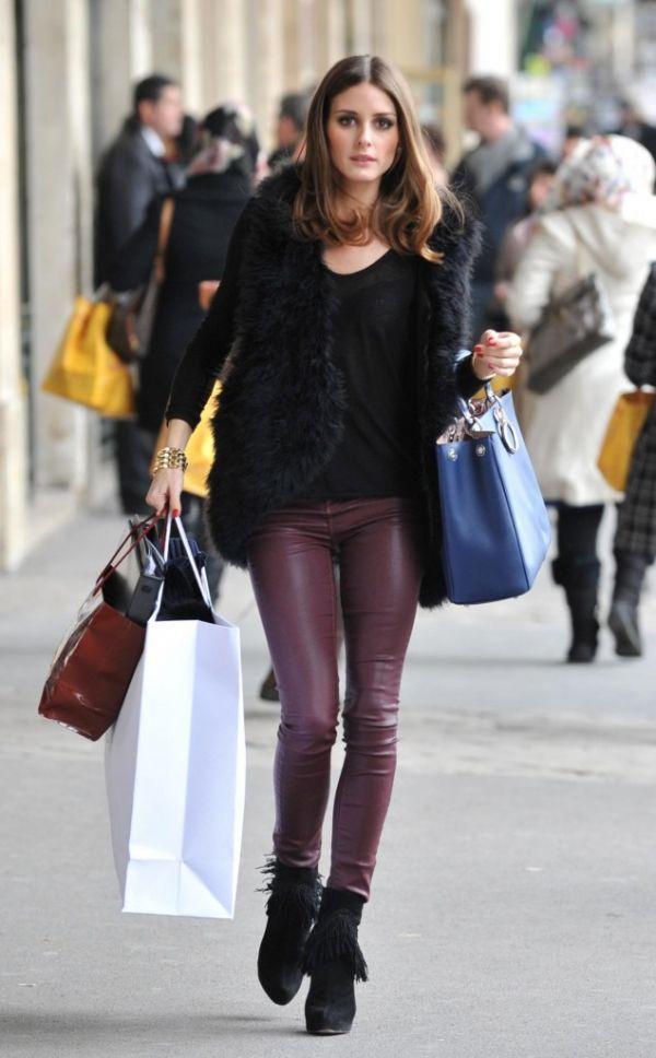 Love herOliviapalermo, Fashion, Style, Olivia Palermo, Leather Pants, Burgundy Pants, Black Fur, Leatherpants, Fur Vest