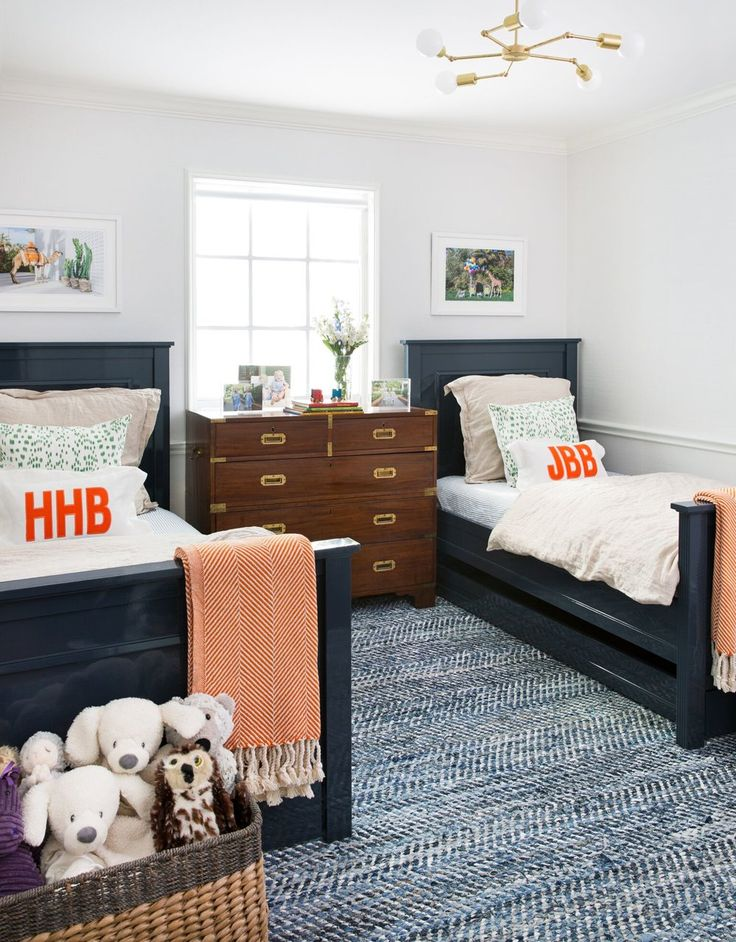 double twin beds and patterned textured rug jennifer barron interiors - Boys Twin Bed Frame