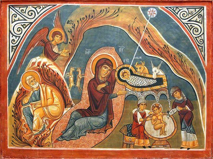 Il est venu en s'incarnant, le Christ, notre Dieu, * que le Père engendre dans Son sein avant l'étoile du matin; * Lui qui tient les rênes des puissances immaculées, * Il est couché dans une crèche d'animaux et Il est emmailloté dans un haillon; ** mais Il délie les liens enchevêtrés de nos péchés. (liturgie byzantine, canon de Noël de saint Côme de Maïouma) http://ift.tt/1AFctMC