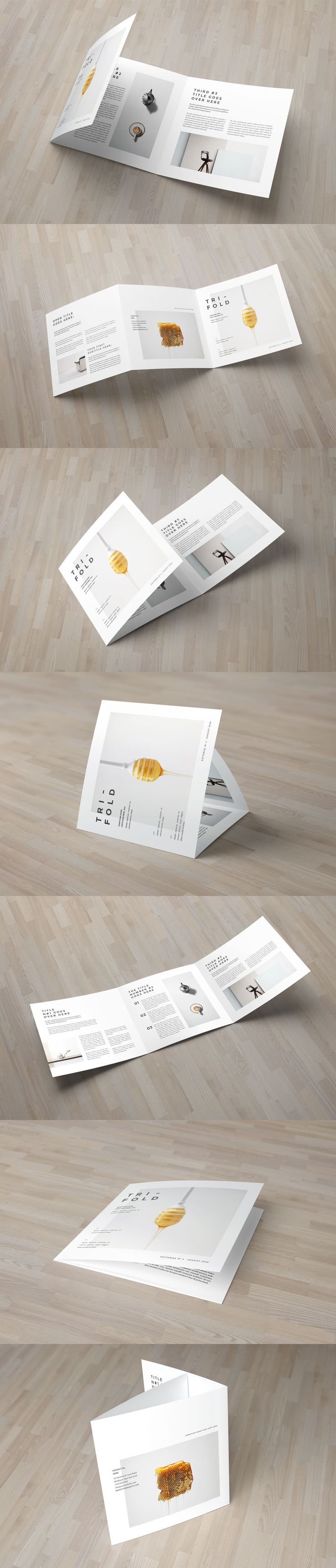Square Minimal Cool White Trifold Brochure Template INDD