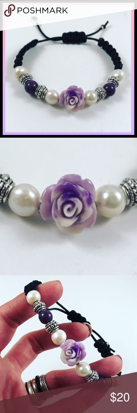 """women genuine pearl black & purple rose bracelet FREE GIFT WITH EVERY PURCHASE !! LET ME KNOW IF YOU WANT MEN OR WOMEN GIFT WHEN PURCHASING Women black silk macrame bracelet  . Fits any wrist / adjustable . Handmade by me. Genuine pearls . Silver plated deco spacers . Dyed purple and white turquoise rose charm .  I ship fast!✈️Bundle & save! . Any questions let me know ! No transactions outside Poshmark!!  2 for $25!! All Items marked with the fox """""""" emoji are 2 for $25 just bund"""