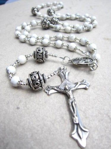 White Rosary Beads in Howlite Gemstone and Silver