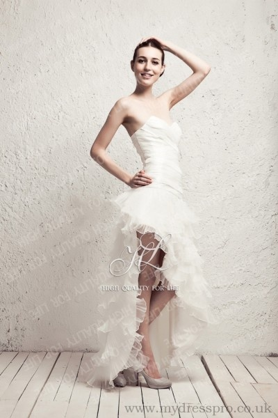 A-line ivory Strapless Knee-length Taffeta Wedding Dress ruo_0008  http://www.mydresspro.co.uk/194-09-2012