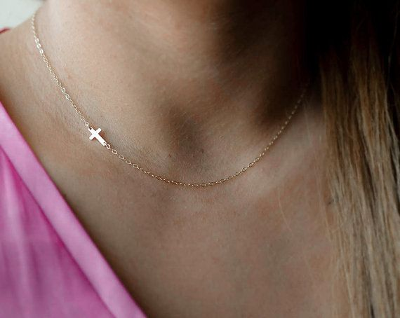Sideways Cross Necklace Side Cross Necklace Small by AtelyeSade