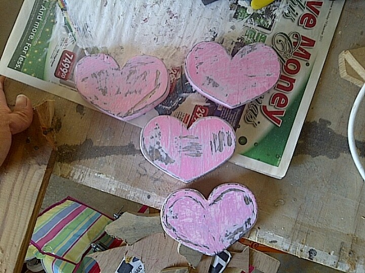 Pink solid wooden hearts