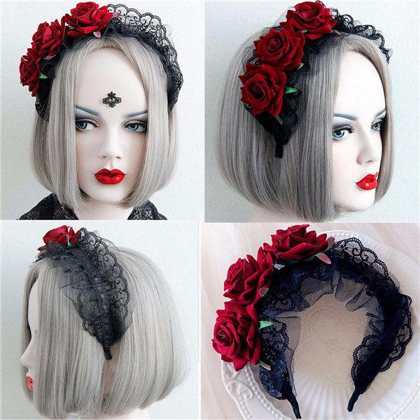 Women Handmade Lace Black Red Rose Flower Cosplay Headband Hair Band Cheap - NewChic