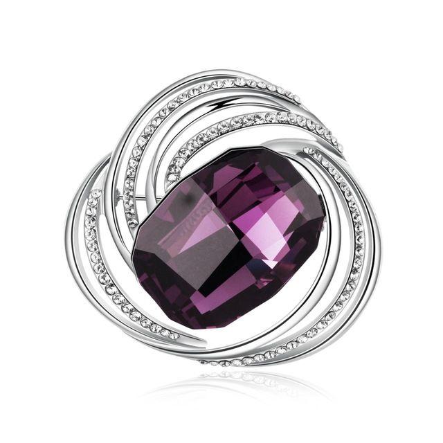 Роза марка день святого валентина подарок платиновым покрытием мода шарм булавки для шарф фиолетовый кристаллы вокруг женщин винтаж брошь TB017