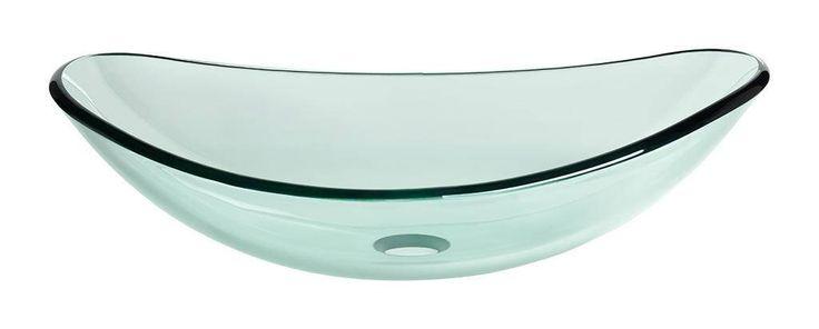 cuba oval de vidro 46 cm