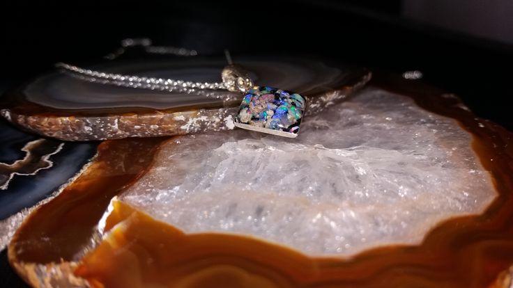 Silver pendant with slovakian opal