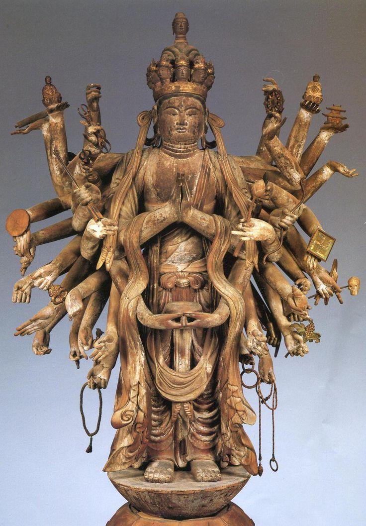 東大寺四月堂木造千手観音立像(旧本尊):毎年4月に法華三昧が行われることから「四月堂」や「三昧堂」と呼ばれる。平安時代前期に制作されたといい、三眼を備える唐美人風のふくよかな顔立ちが印象的である。 現在、東大寺ミュージアムに移動。