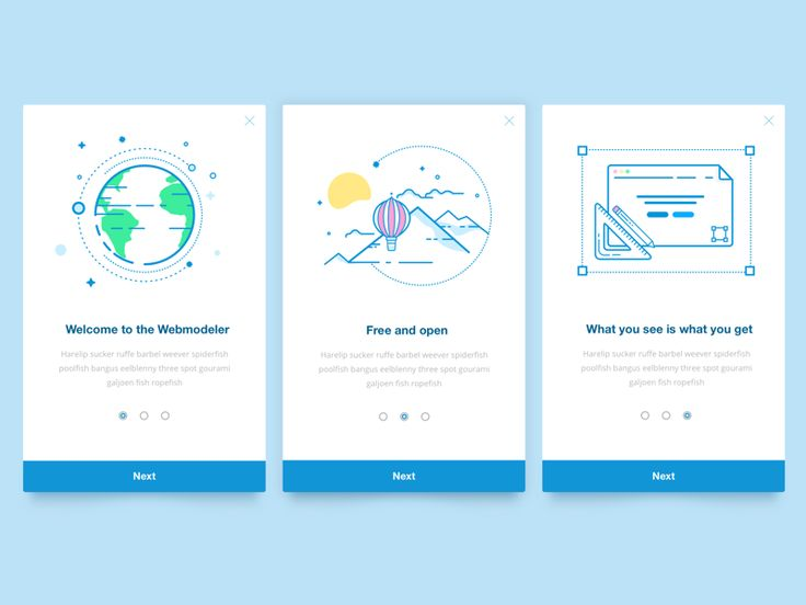 A couple of introduction cards for the Mendix Webmodeler with planet earth, balloons and a page editor. I swear to god I had something for this.